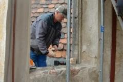 Turmfenster und Arbeiten im Park